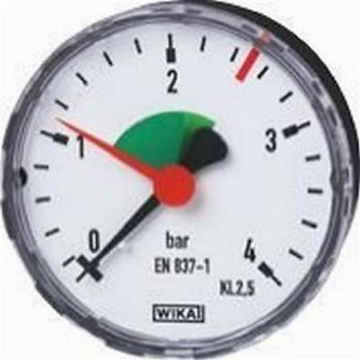 Wika Manometer für geschlossene Heizungsanlagen Skala bis 4 bar Zoll wählbar