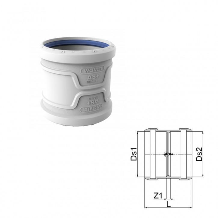 Wavin AS+ / Wavin AS Plus Doppelmuffe mit Premium Schallschutz Abflussrohr