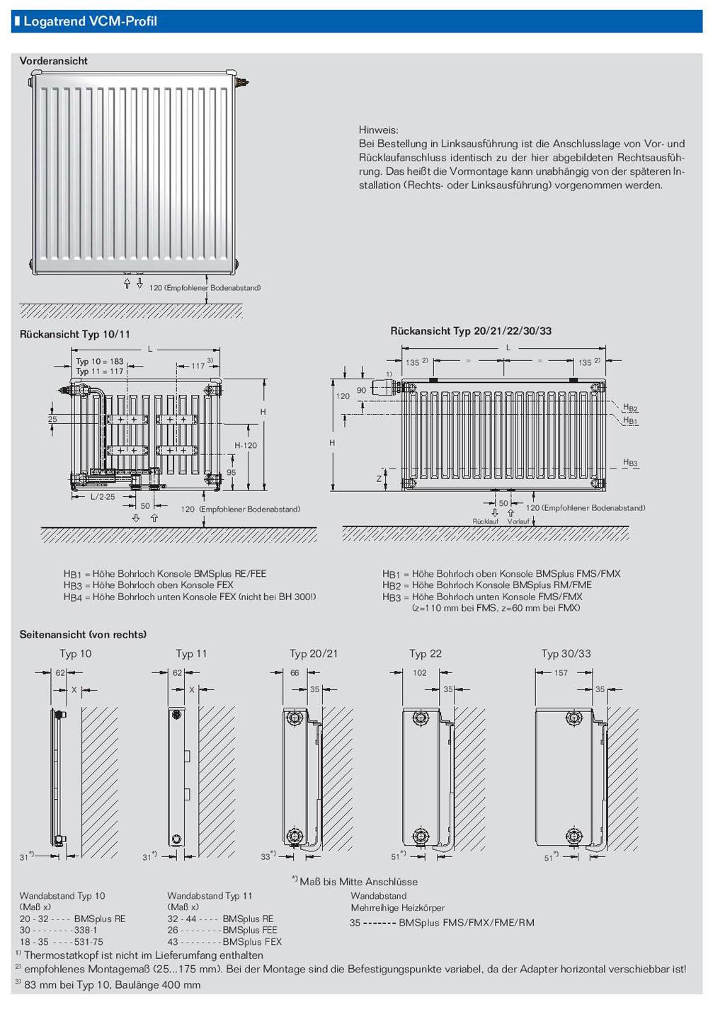buderus ventil vcm profil heizk rper mittenanschluss bh 400 mm l nge 400 3000mm ebay. Black Bedroom Furniture Sets. Home Design Ideas