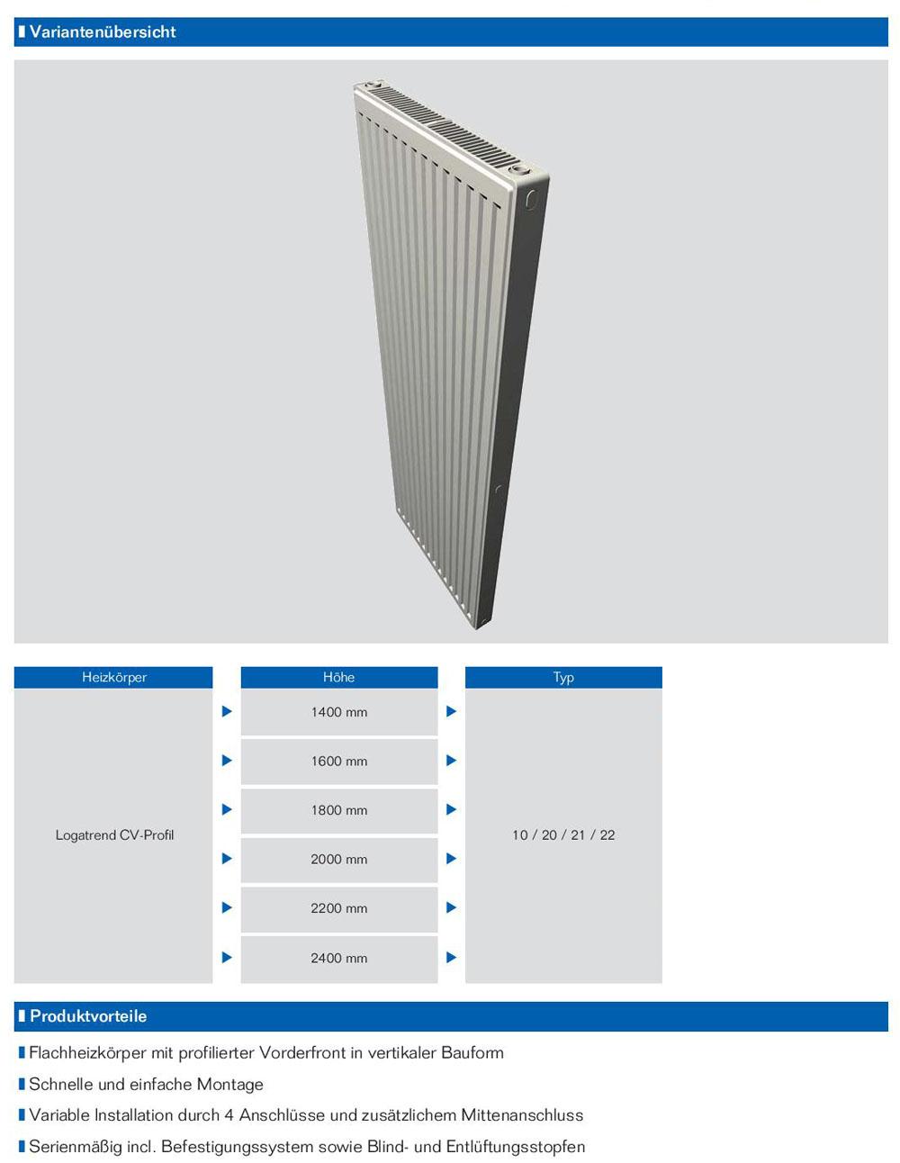buderus vertikal profil heizk rper bauh he 1800mm typ 10 20 21 22 l nge 300 900. Black Bedroom Furniture Sets. Home Design Ideas