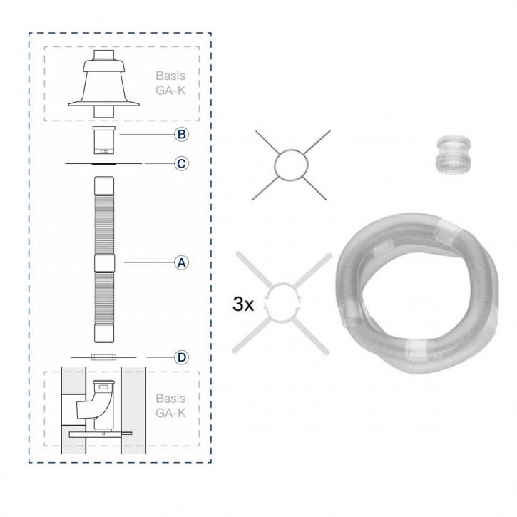 Buderus ÜB-Flex Abgassystem DN80 Grundbausatz flexibles Abgasrohr 15m oder 25m