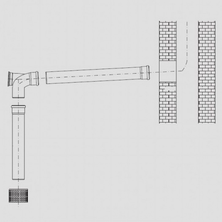 Buderus GN Abgassystem DN 80 Grundbausatz raumluftabhängig für Keller Kunststoff