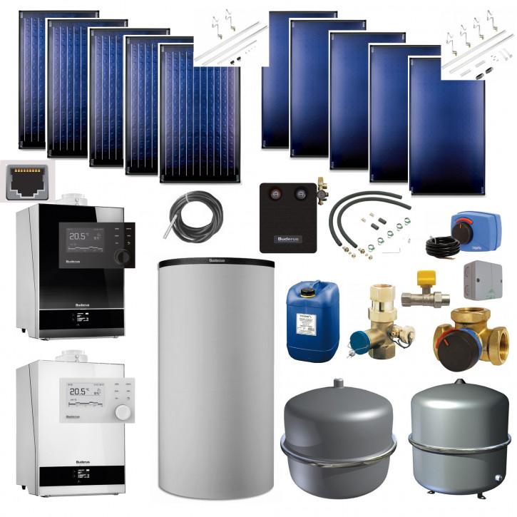 Buderus Solarpaket SL123 Gas Brennwert GB192i Speicher 750l RC310 5x SKN / SKT