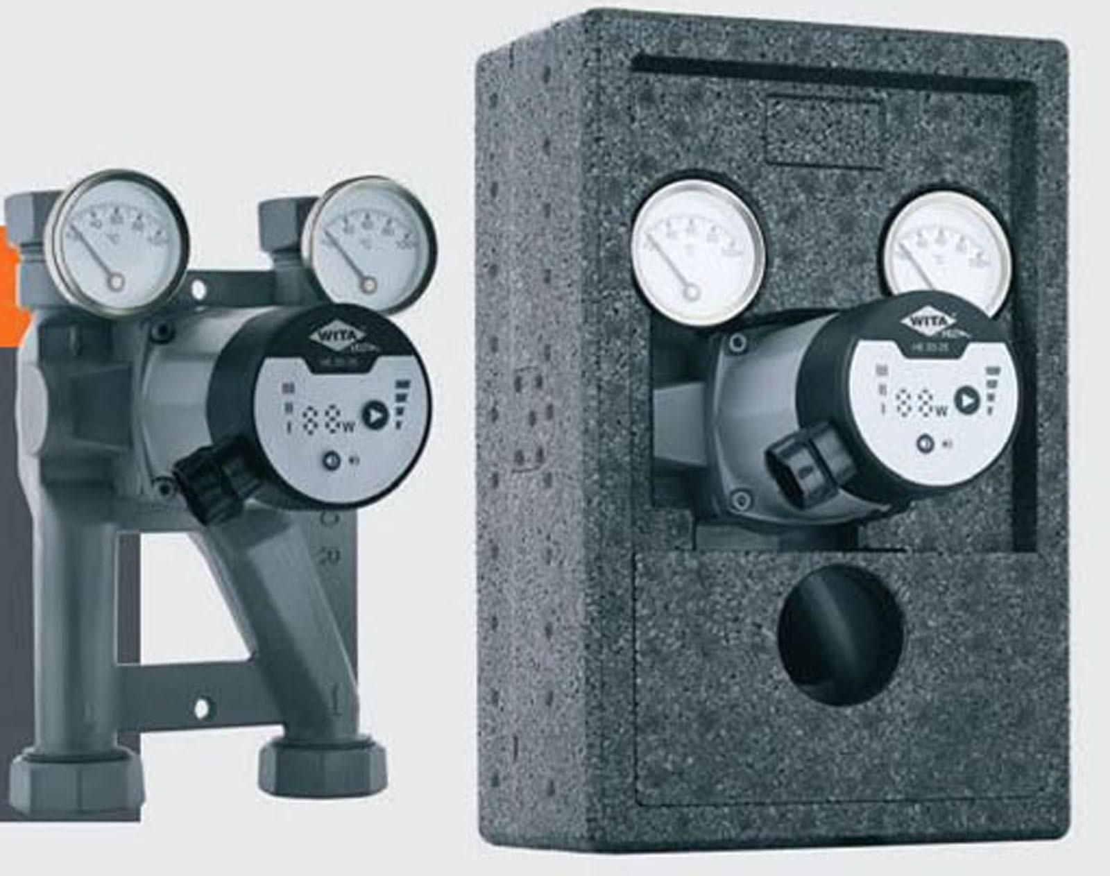 Wita-Bloc T60 R Pumpengruppe DN25 Hocheffizienz Pumpe + Thermometer / 120 mm