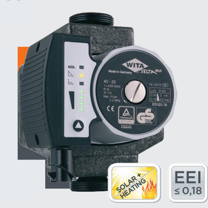 Wita Hocheffizienzpumpe Delta MIDI 40 60 LED Heizungspumpe Solarpumpe auch PWM